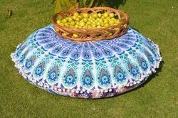 Indian Peacock Mandala Round Cushion