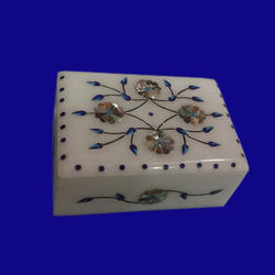 White Marble Box Stone Inlay With Decorative Box