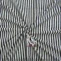 Blue Stripe Hand Block Print Cotton Fabric Natural Color