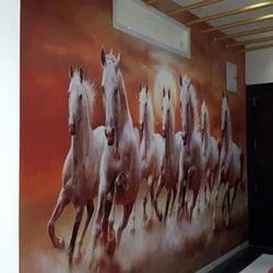 Pvc Printed Designer Seven Horse Wallpaper Rs 185 Square Feet Dhruti Enterprise Id 19406834562