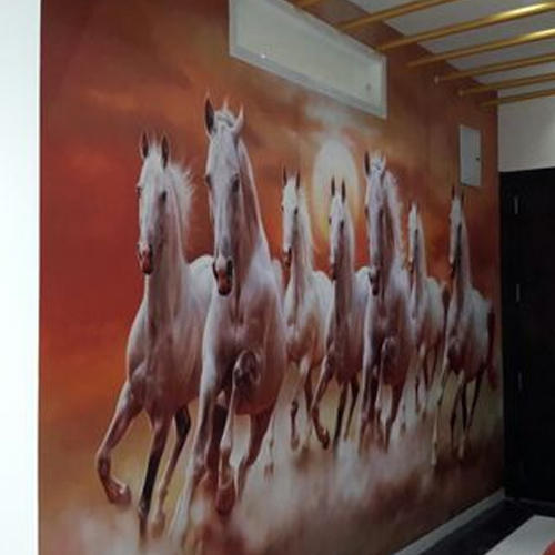 Pvc Printed Designer Seven Horse Wallpaper Rs 185 Square Feet