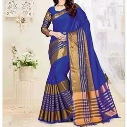 Printed Party Wear Blue Cotton Silk Saree, 6.75m (With Blouse Piece)