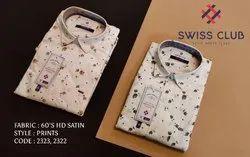 Cotton Printed Swiss Club Men's Casual HD Satin Light Shirt