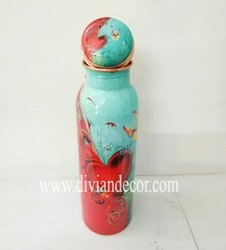 Meenkari Art Printed Copper Bottles