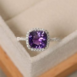 Purple Gemstone Diamond Ring