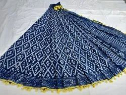 Dabu Indigo Hand Block Printed Cotton Saree