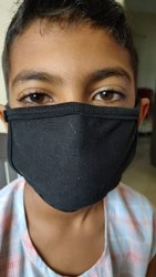 Black Reusable Cotton Fabric Face Mask