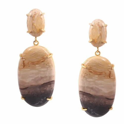 Sterling Gold Plated Natural Yasper Stone Big Earrings