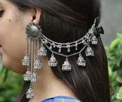 Round German Silver Bahubali Earring for Women and Girls, 195