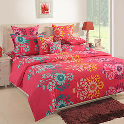 Swayam 120 TC Cotton Double Bed Sheet with 2 Pillow Covers - Floral, Red