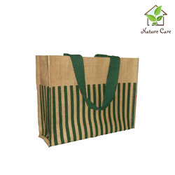 Jute Bag With Stripes And Colored Tape Handle