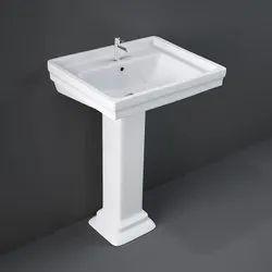 Realm White Ceramic Pedestal Wash Basin