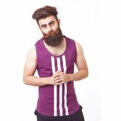 Purple Cotton Men Gym Vest, Size(cm): 85 And 90