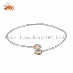 Womens 925 Silver Citrine Gemstone Designer Bangles