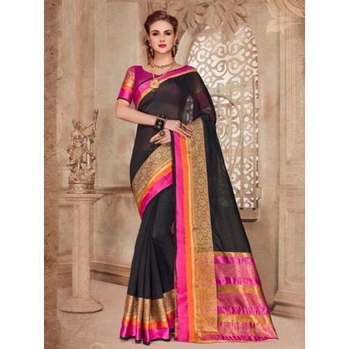 4d9599376 Liva Silk Black Pink Saree, 5.5 M Separate Blouse Piece, Rs 1200 ...