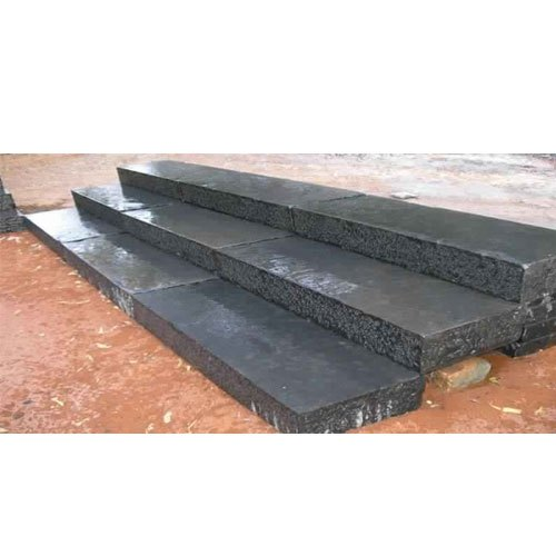 Polished Black Limestone Block Step