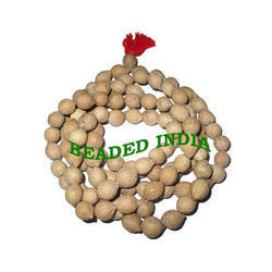 Beaded India Necklace Natural Wood Mala, Size: 16 Mm
