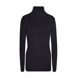 Jack Fashion Black Ladies Full Sleeve High Neck T-Shirt