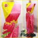 Florita Satin Saree With Waist Belt 6 M (with Blouse Piece)
