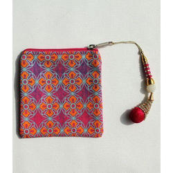 Delightful Flower Motif Canvas Coin Purse