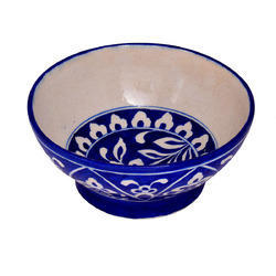 Hand Painted Blue Pottery Bowl, for Interior Decor, Size: Starting From 3 To 12 Inch