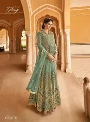 Thankar Net Latest Stylish Embroidered Party Wear Suit, Dry clean