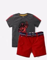 Gray And Red Printed Children Readymade Garments, Size: 5-10 Years