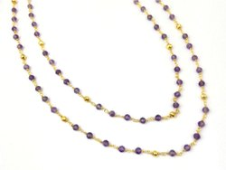Amethyst And Gold Pyrite Gemstone Beaded Chain