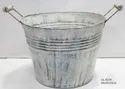 Beautiful Round Tub Planters Metal White Wash Antique Brushed Finish European Design
