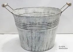 Beautiful Round Tub Planters Metal White Wash Antique Brushed Finish European Design
