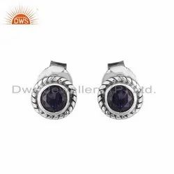 Iolite Gemstone Antique Oxidized Silver Round Stud Earrings