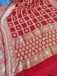 Chiffon Party Wear Banarasi Khaddi Georgette Saree With Bandhani Design