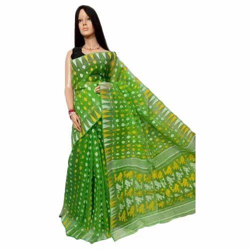 6df5af2b19 Ladies Cotton Green Jamdani Saree, Length: 6 M, Rs 1200 /piece   ID ...