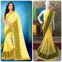 Yellow Color Chiffon Multi Work Designer Border Saree With Blouse