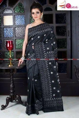 Colour Semi Katha Stitch Saree