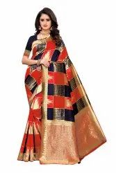 Banarasi Rich Pallu Party Wear Red Blue Saree With Blouse Piece