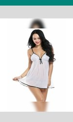 White Baby Doll Nightwear, Size: Free Size