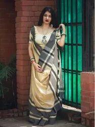 Fabzone Designer Liner Khadi  Cotton Saree