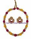 Yaalz Chain Neckset & Matching Chand Bali Earring Combo In Mango Yellow & Dark Pink