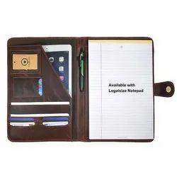 Brown Plain Leather Portfolio Bag