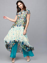 Multi Colored Floral Printed High-Low Kurta