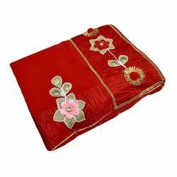 Pure Chiffon Red Chiffon Saree, With Blouse Piece