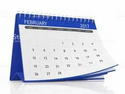 English Paper Plastic Calendar, For Promotion