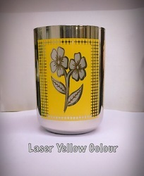 Laser Yellow Color SS Drinking Glass