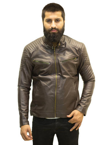 Brown Faux Leather Men S Dark Solid Biker Jacket Rs 1000 Piece
