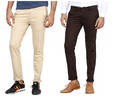 Cotton Inspire Pack Of 2 Slim Chinos (beige & Brown) Trousers