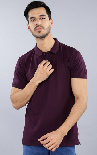 f22aa9aa6b0b8 Dark Red Cotton Linen MAVIE Men Solid Polo T-Shirt