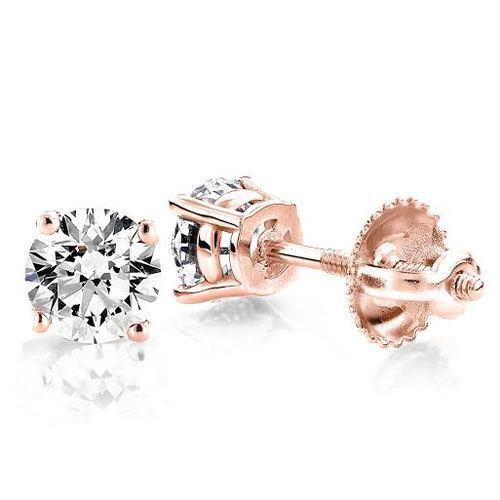 Jenu Jewel White Fancy Genuine Rose Gold Moissanite Earrings