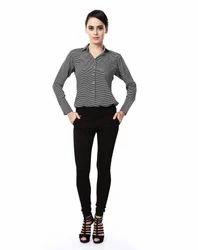 Horizontal Zig-zag Lining Shirt
