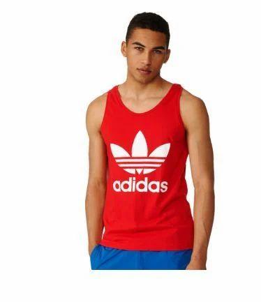 0ac6a268cf9ad Organic Cotton Vivid Red Mens Adidas Originals Trefoil Tank